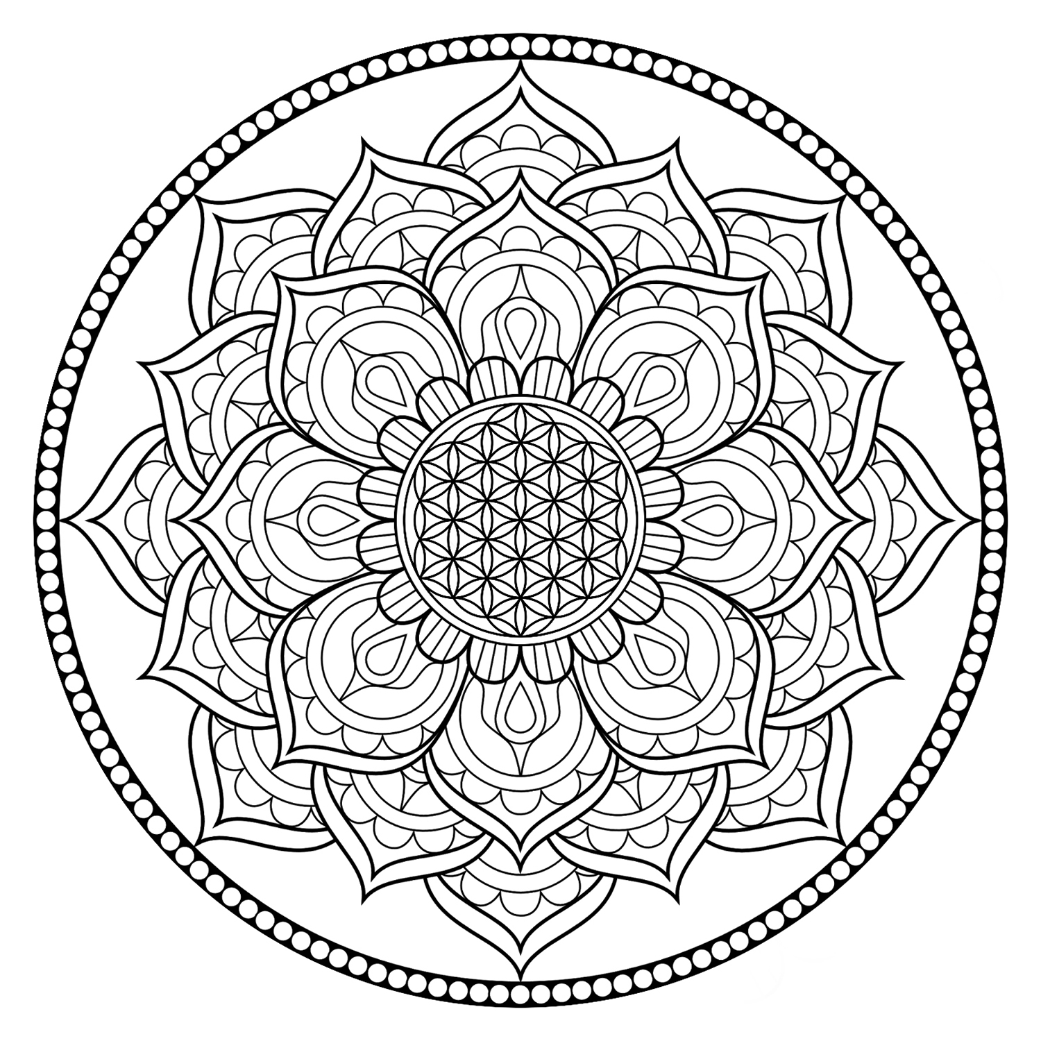 relieve daily stresses with beautiful free flower of life coloring