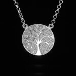 Tree of Life Silver Necklace With Cubic Zirconia