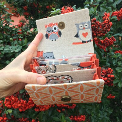 Orange Flower of Life Wallet With Owls