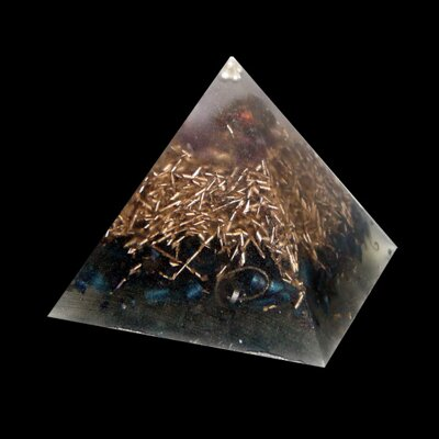 Orgone Pyramid Kepler S - Chalcopyrite and Amethyst