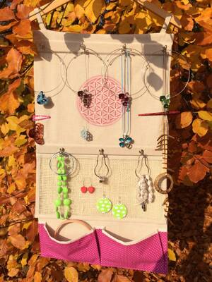 Flower of Life Hanging Jewelry Organizer - Pink