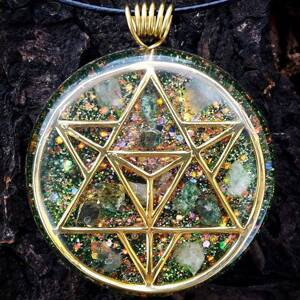 Merkaba Orgonite Pendant With Tourmaline And Rose Quartz