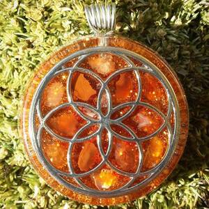 Seed of Life Orgonite Pendant With Carnelian