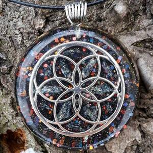 Seed of Life Orgonite Pendant With Hematite