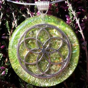 Seed of Life Orgonite Pendant With Olivine