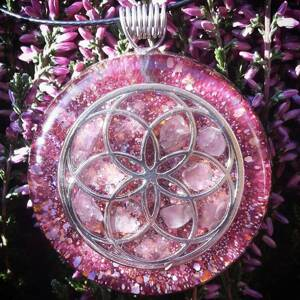 Seed of Life Orgonite Pendant With Rose Quartz