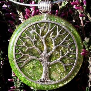 Tree of Life Orgonite Pendant With Olivine