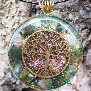 Tree of Life Orgonite Pendant With Rose Quartz And Tourmaline